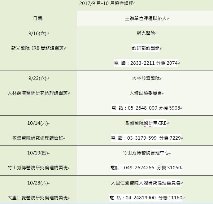 9-10月協辦課程清單